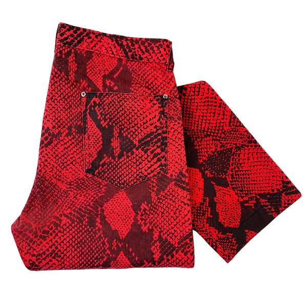 Trash and Vaudeville Red Snakeskin Jeans