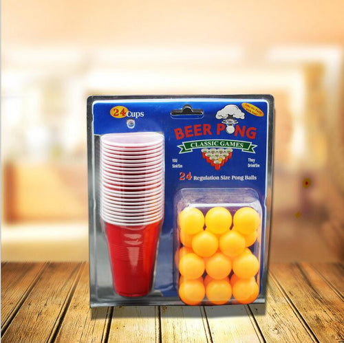 BEER PONG KIT (24 Ping Pong Balls And 24 Red Solo Cups)