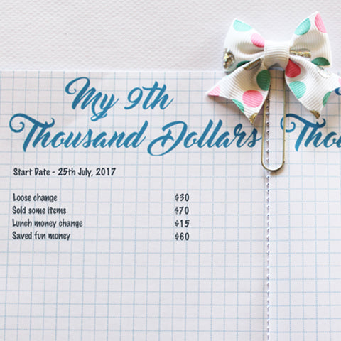 My Thousand Dollars Savings Challenge Planner Haul Bow Clip