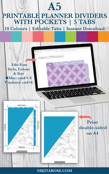 PRINTABLE A5 DIVIDERS | 5 SIDE + 5 TOP TABS | PLUS POCKETS | MARBLED