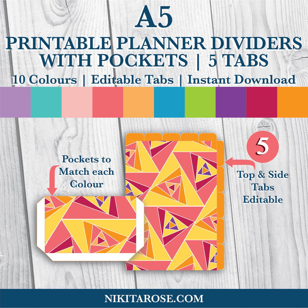 PRINTABLE A5 DIVIDERS | 5 SIDE + 5 TOP | PLUS POCKETS | TRIANGLES