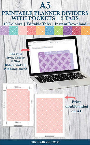 PRINTABLE A5 DIVIDERS | 5 SIDE + 5 TOP TABS | PLUS POCKETS | DIAMOND TILE