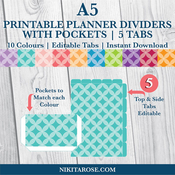 PRINTABLE A5 DIVIDERS | 5 SIDE + 5 TOP TABS | PLUS POCKETS | CIRCLES