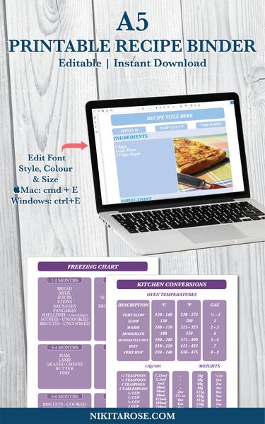 PRINTABLE A5 RECIPE BINDER KIT | PURPLE