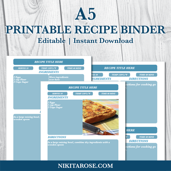 PRINTABLE A5 RECIPE BINDER KIT | DARK BLUE
