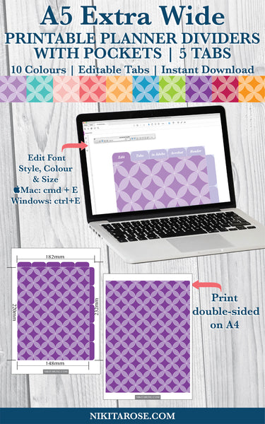PRINTABLE A5 EXTRA WIDE DIVIDERS | 5 SIDE + 5 TOP TABS | PLUS POCKETS | CIRCLES