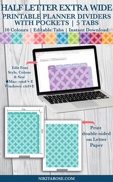 PRINTABLE HALF LETTER EXTRA WIDE DIVIDERS | 5 SIDE + 5 TOP TABS | PLUS POCKETS | CIRCLES