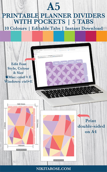PRINTABLE A5 DIVIDERS | 5 SIDE + 5 TOP TABS | PLUS POCKETS | GEOMETRIC
