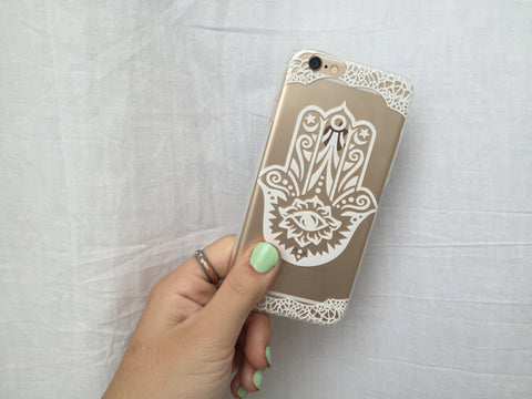 White Hamsa iPhone Case - Rachel Michelle USA