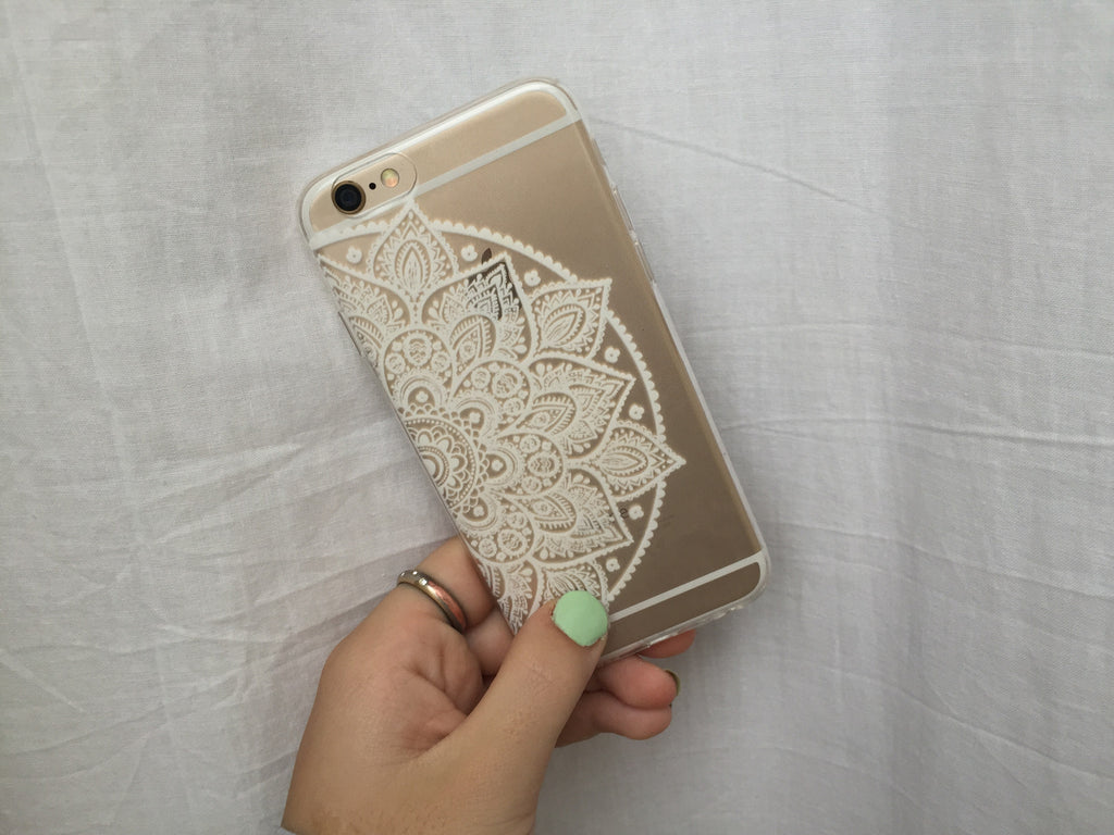 White Half Flower iPhone Case - SnapCali