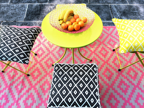 Green Decore Pink Outdoor Rug