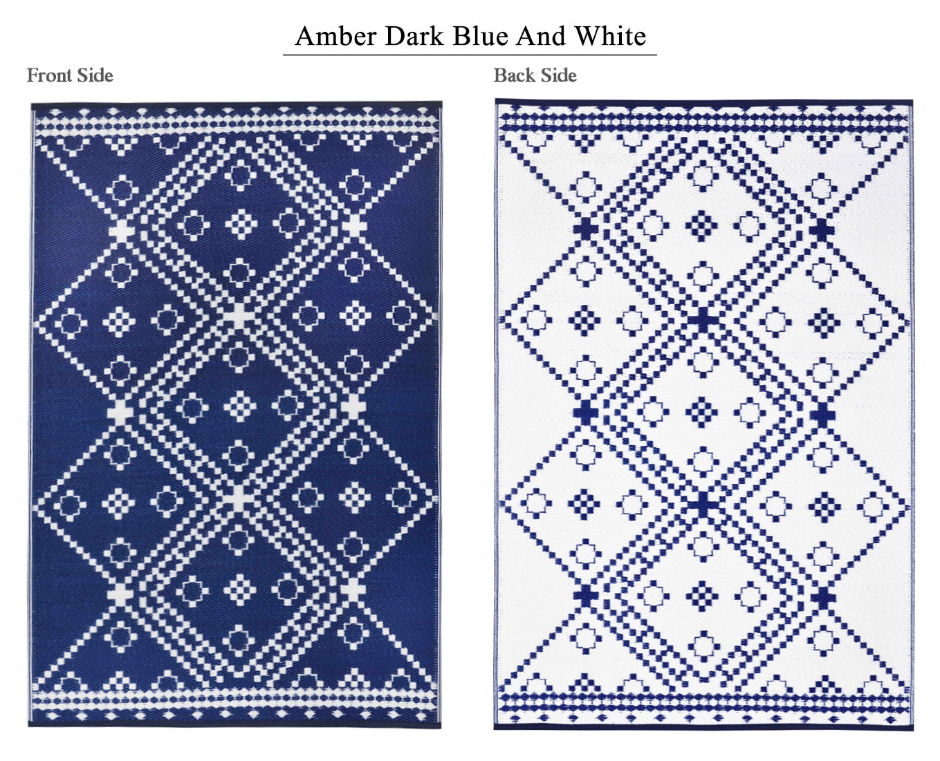 Amber Outdoor Recycled Plastic Rug (Dark Blue/White)