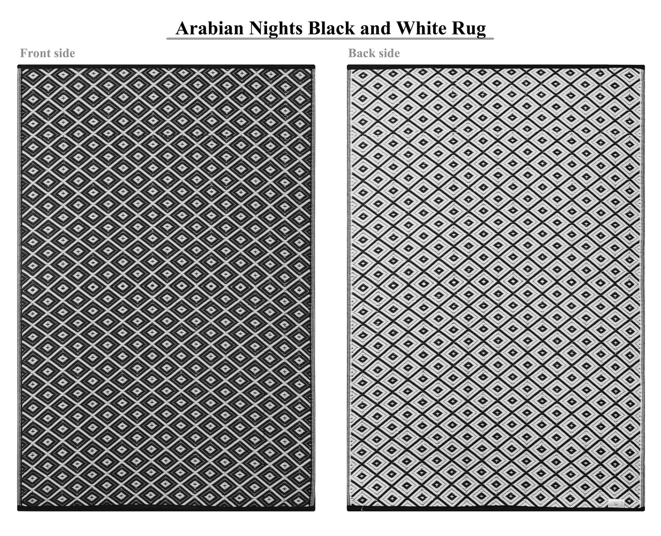 Arabian Nights Outdoor Recycled Plastic Rug (Black)
