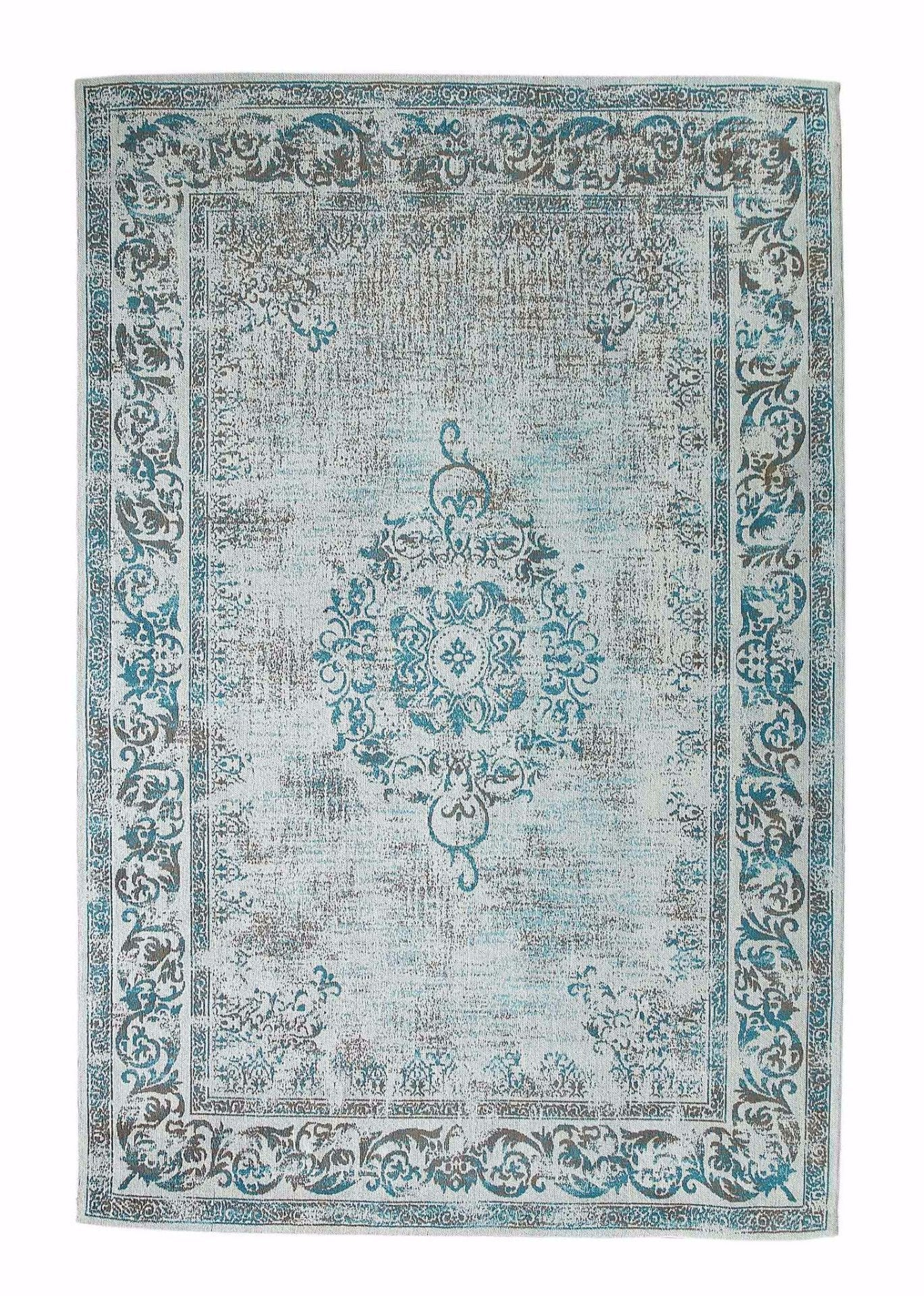 Vintage Azur Blue Rug - greendecore.co.uk - 1