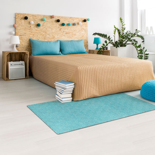 Solitaire Turquoise and Light Cream Rug