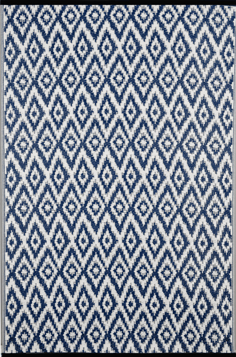 Espero Outdoor Recycled Plastic Rug Blue White