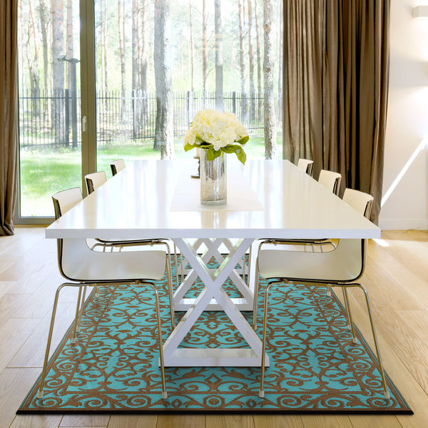 Gala Indoor Outdoor Recycled Plastic Rug (Blue Turquoise/Gold)