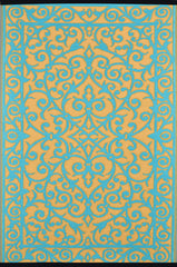 Gala Saffron and Blue Turquoise Rug - greendecore.co.uk - 1