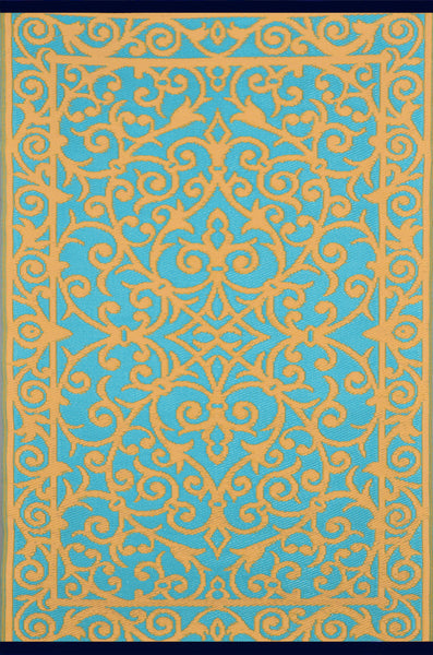 Gala Saffron and Blue Turquoise Rug - greendecore.co.uk - 2