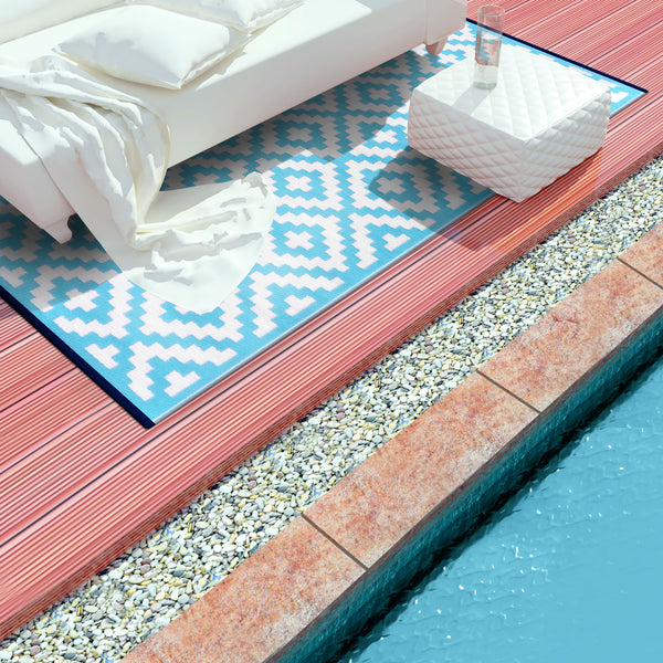 Nirvana Aqua Sky and White Rug