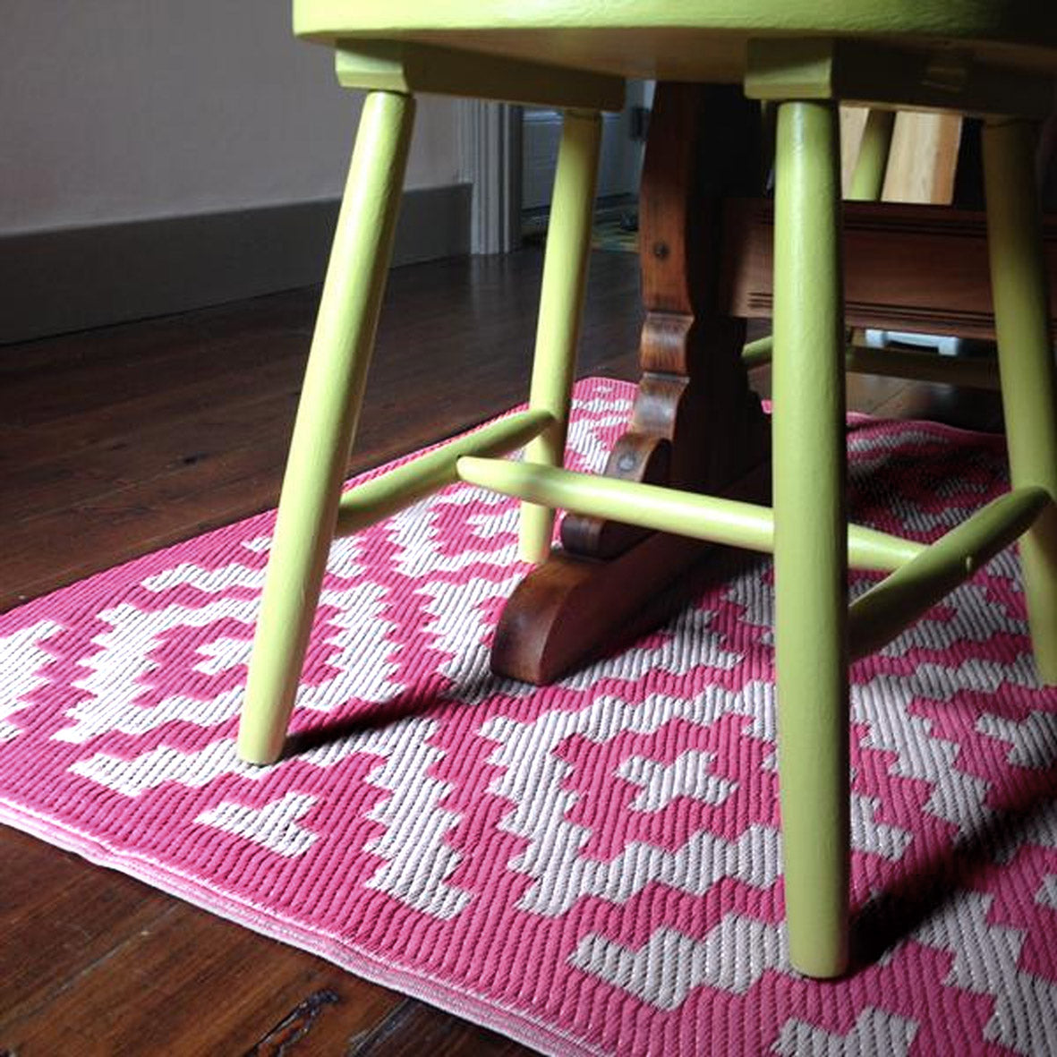Pink And White Indoor Outdoor Rug