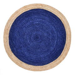 Oculus Handmade Round Jute Rug, Natural and Navy
