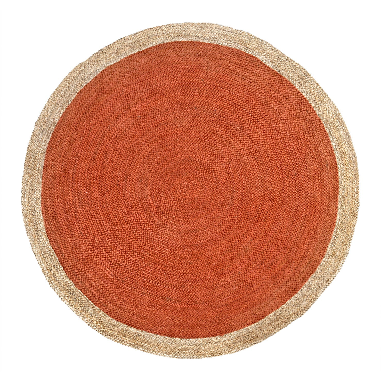 Oculus Handwoven Round Jute Rug (Natural/Orange)