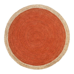 Oculus Handmade Round Jute Rug, Natural and Orange