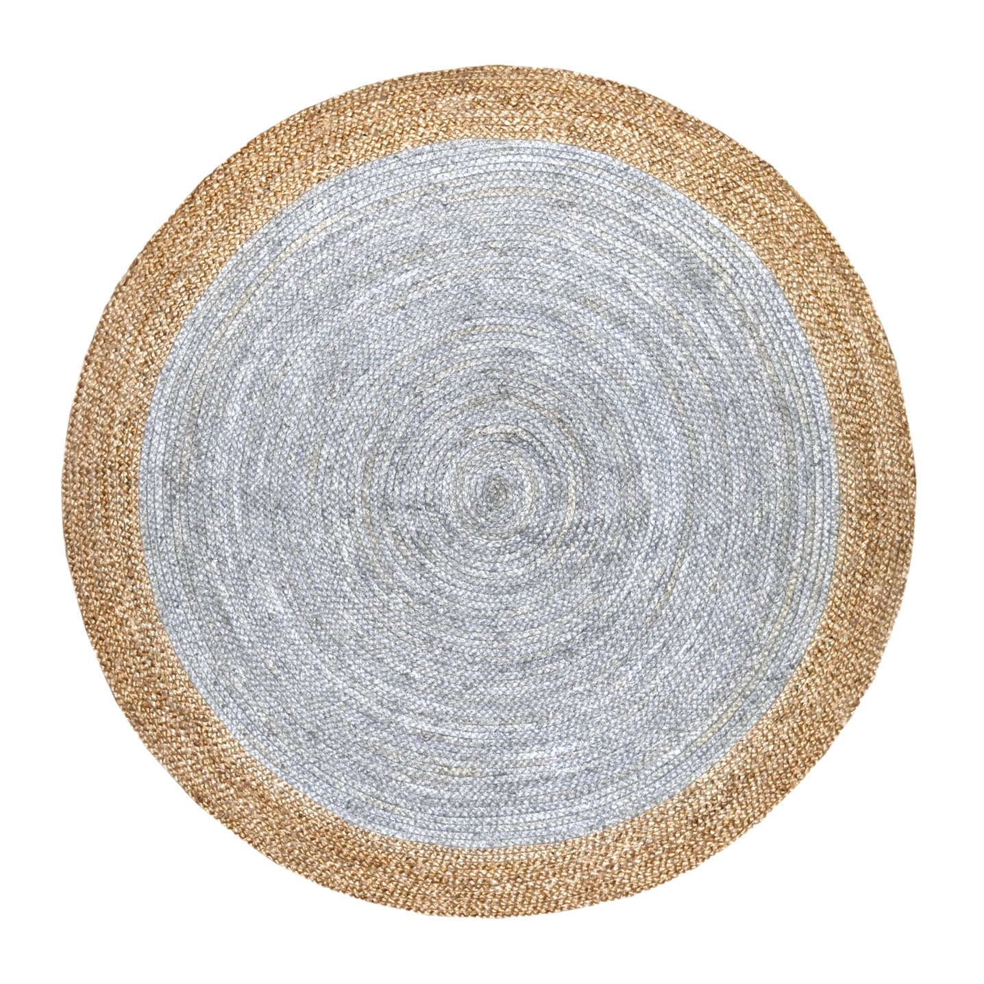 Oculus Indoor Outdoor Handwoven Round Jute Rug (Natural/Light Grey)