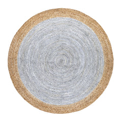 Oculus Handmade Round Jute Rug, Natural and Light Grey