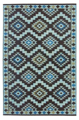 Regal Coffee Brown, Blue and Yellow Rug - greendecore.co.uk - 1