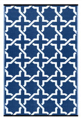 Serene True Blue and white rug