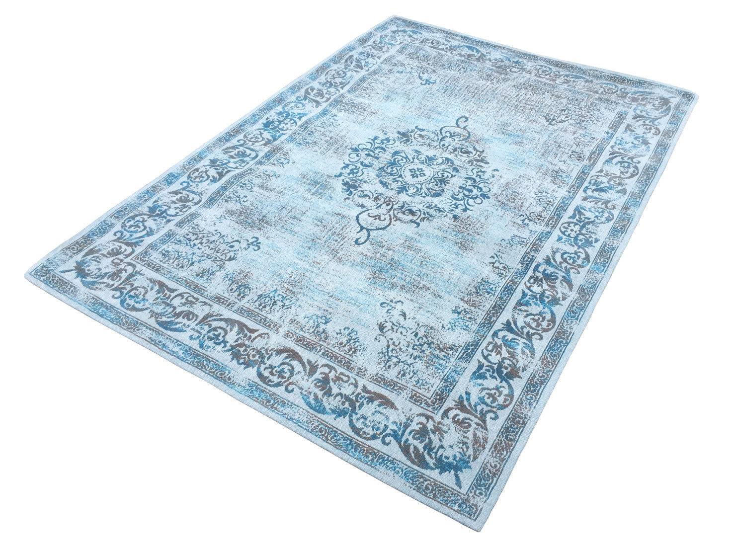 Vintage Azur Blue Rug - greendecore.co.uk - 4