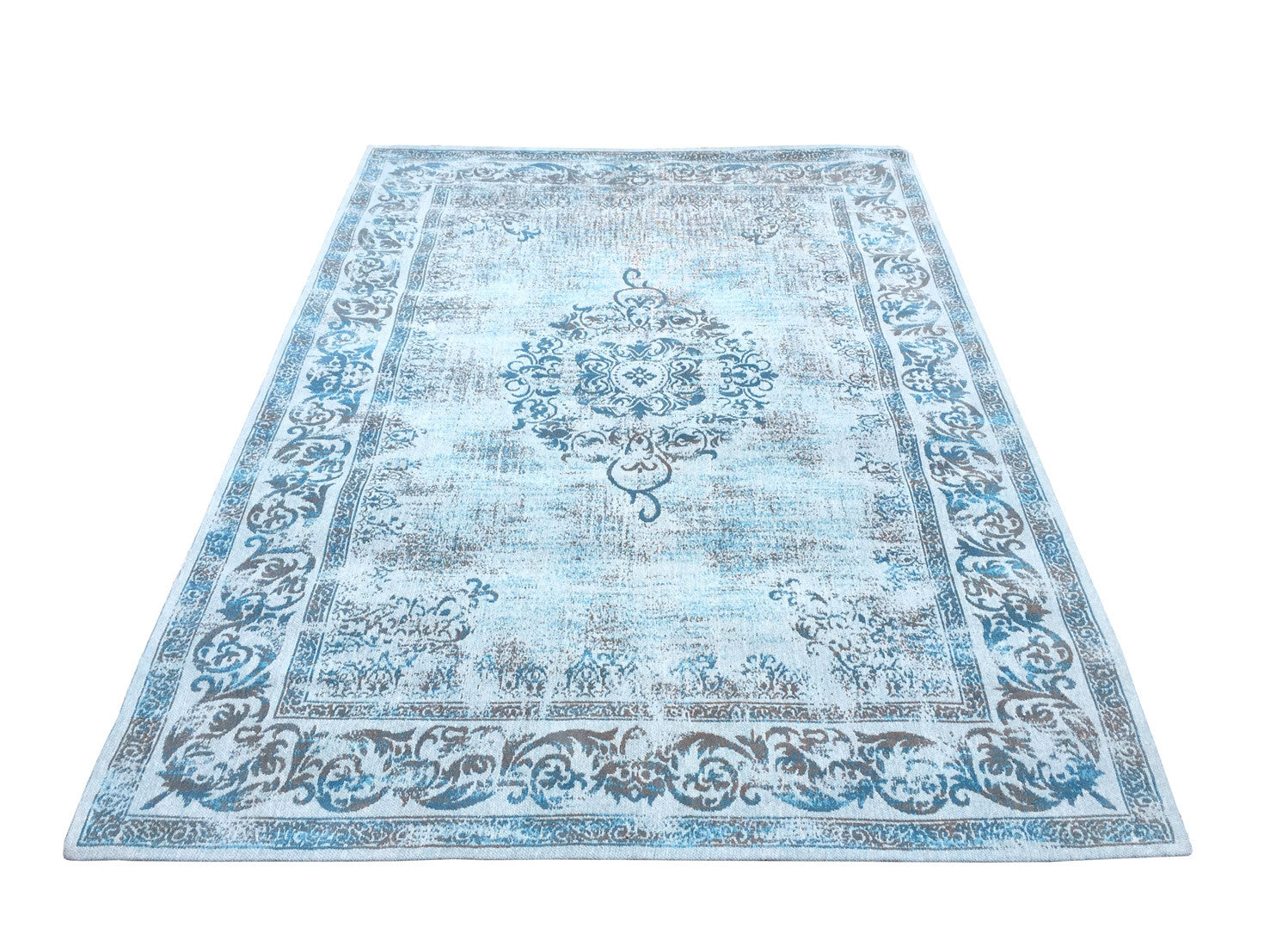 Vintage Azur Blue Rug - greendecore.co.uk - 5