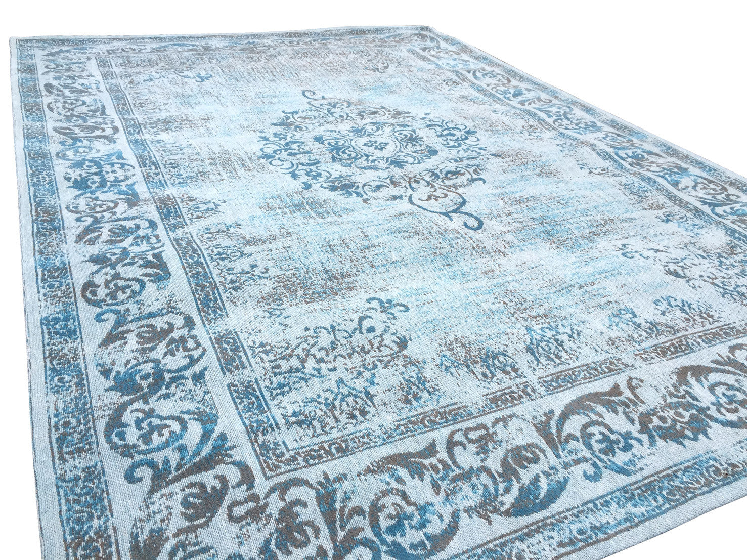 Vintage Azur Blue Rug - greendecore.co.uk - 6