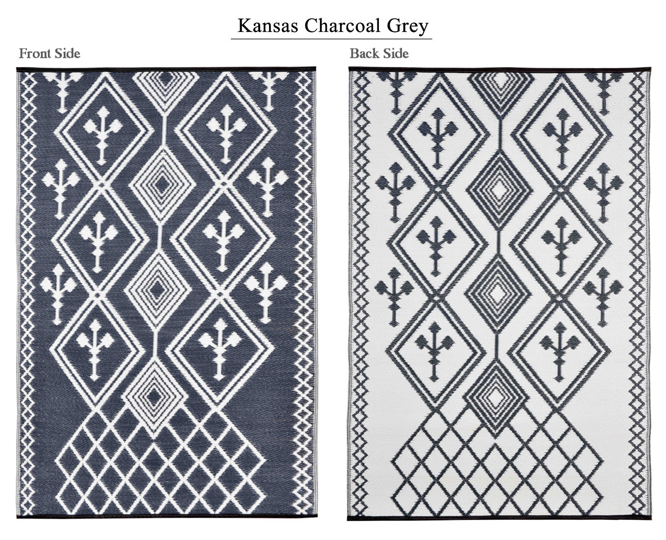 Kansas Outdoor Recycled Plastic Rug (Grey/White)