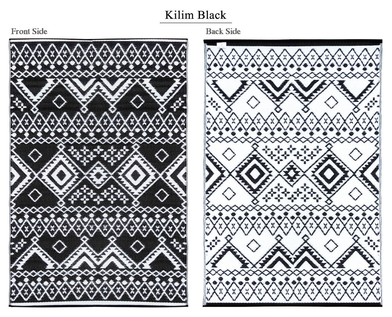 Kilim Outdoor Recycled Plastic Rug (Black/White)