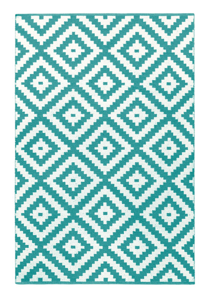 Ava Turquoise and Light Cream Rug