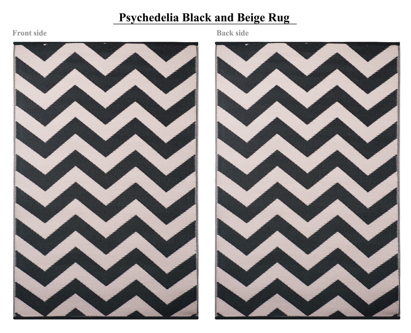 Psychedelia Outdoor Recycled Plastic Rug (Black/Beige)