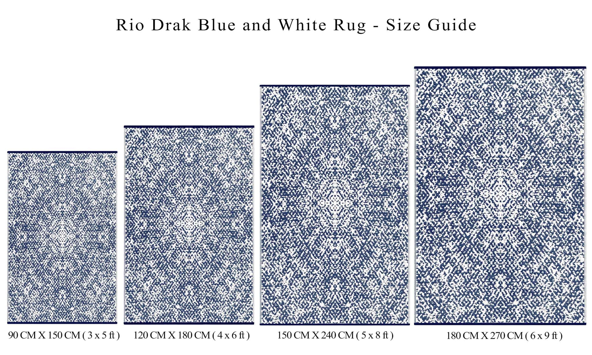 Rio Outdoor Recycled Plastic Rug (Dark Blue/White)