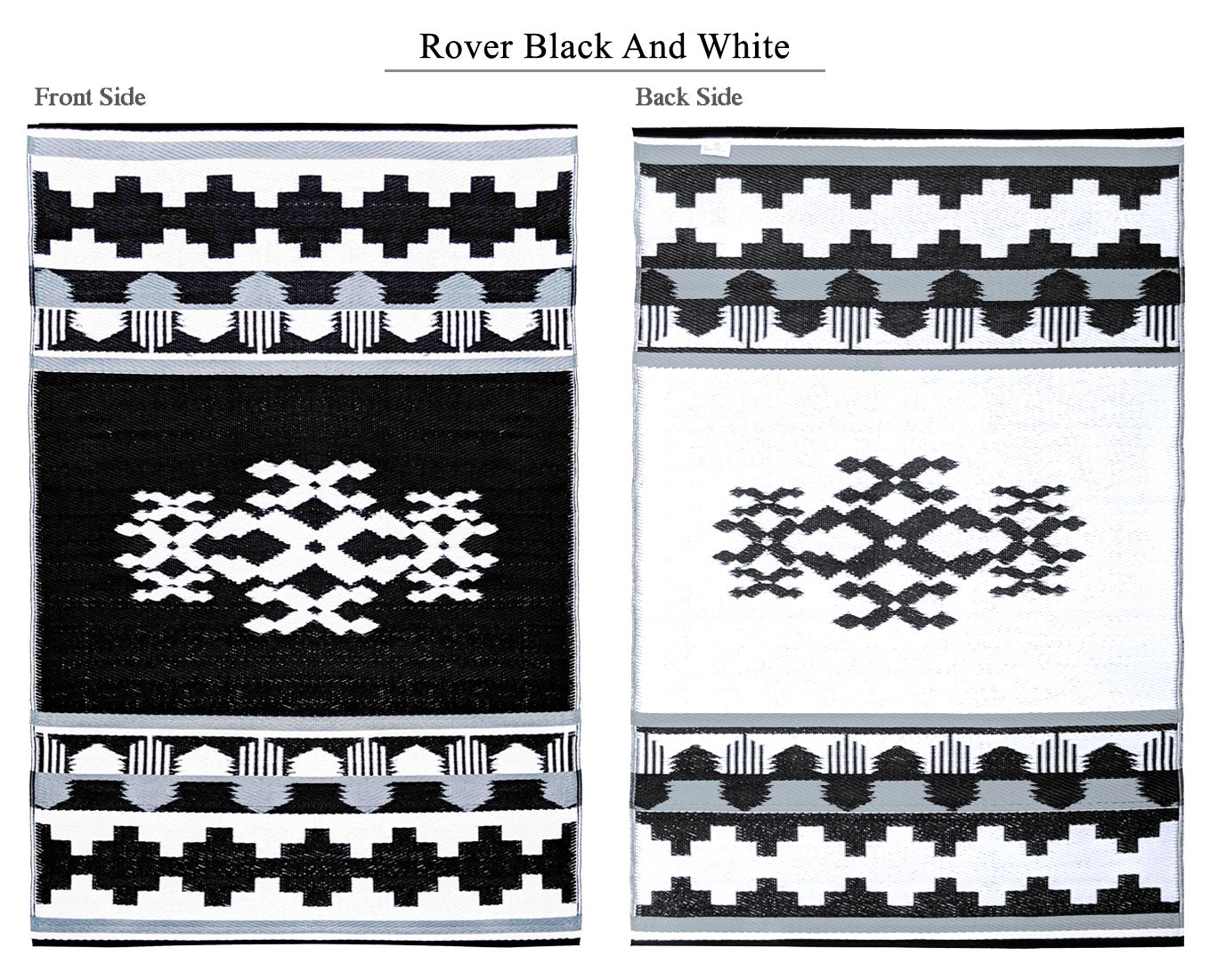 Rover Outdoor Recycled Plastic Rug (Black/White)