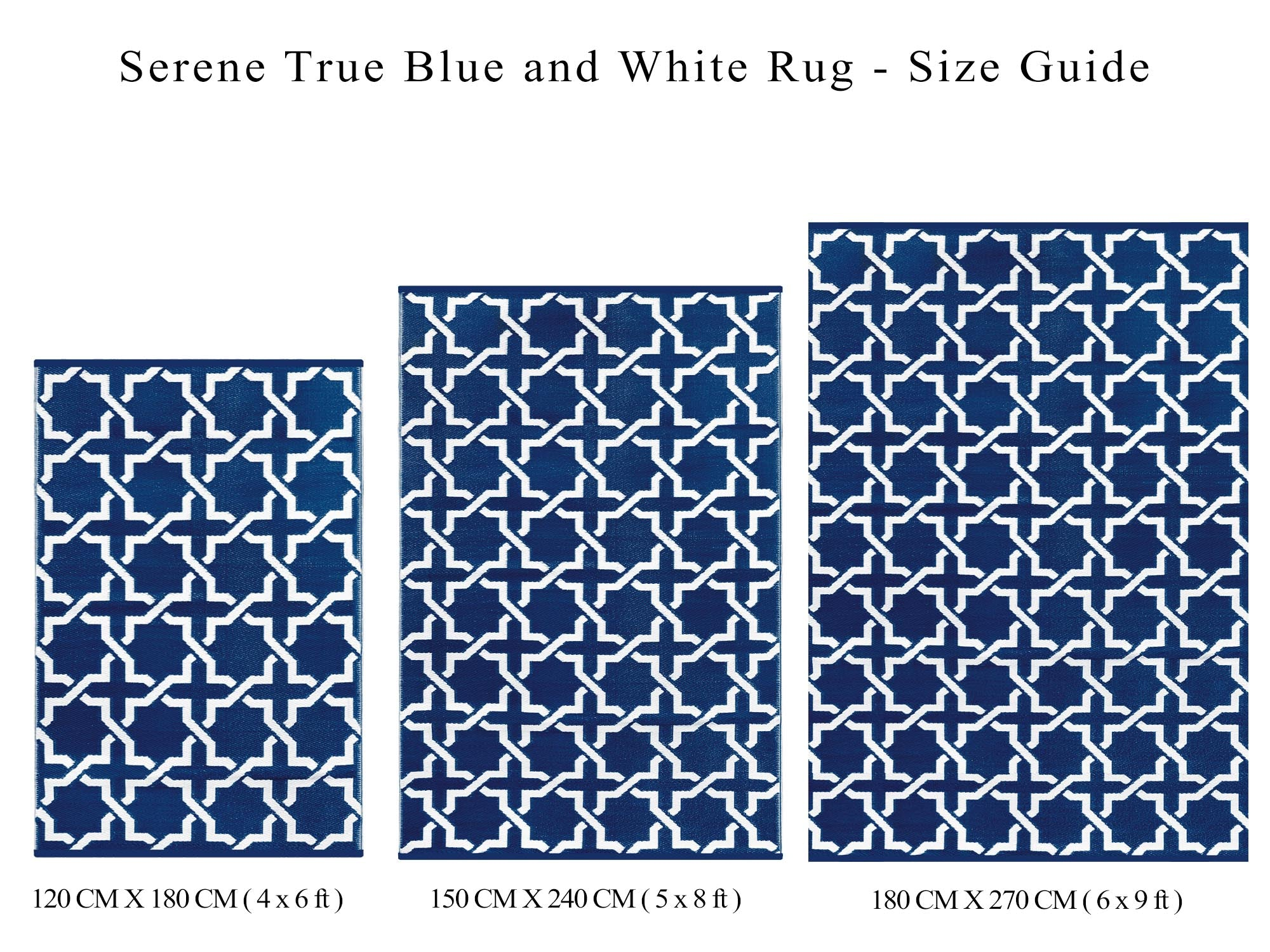 Serene Outdoor Recycled Plastic Rug (True Blue/White)