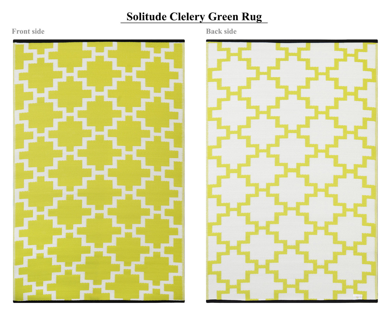 Solitude Outdoor Recycled Plastic Rug (Celery Green/White)