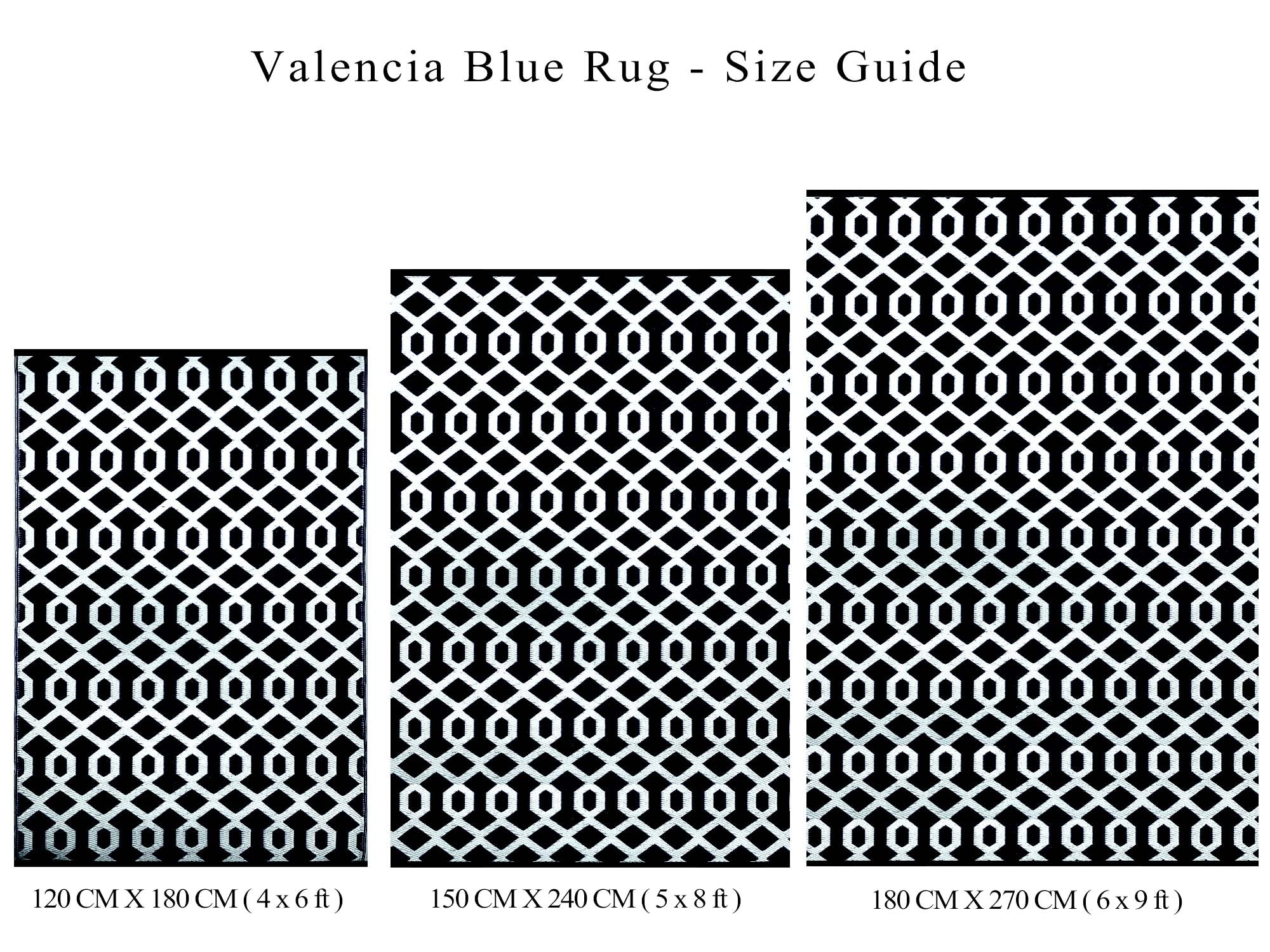 VALENCIA Outdoor Recycled Plastic Rug (Black/White)