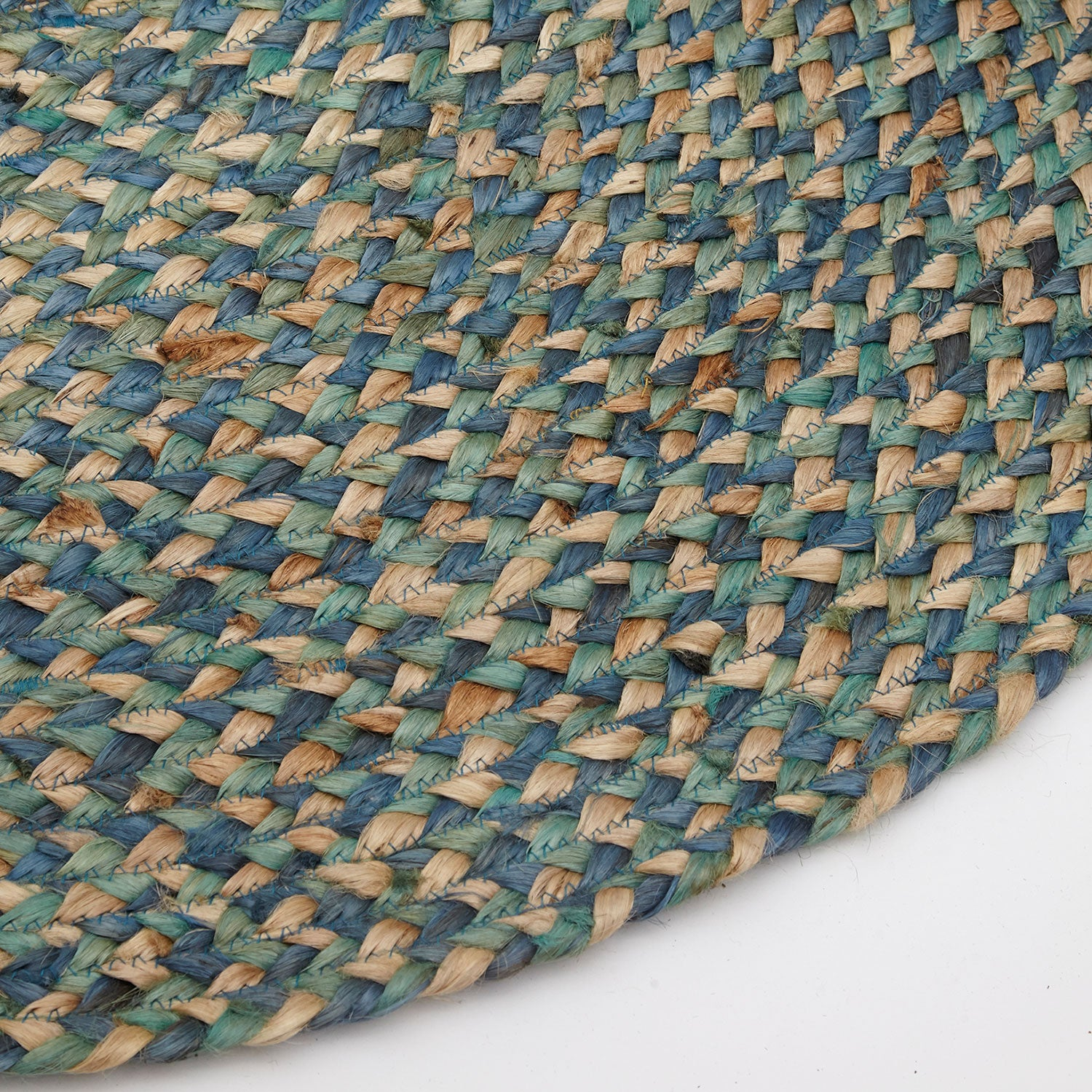 Spectrum Handmade Round Jute Rug, Natural and Turquoise