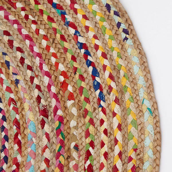 Fusion Handmade Round Jute Rug, Natural and Multicolour