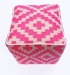 Nirvana Pink and Cream Pouf - greendecore.co.uk - 1