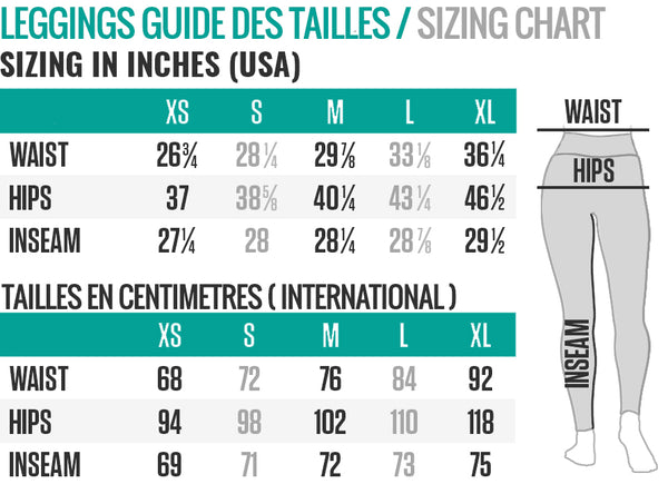 guide des tailles leggings Raise Yourself