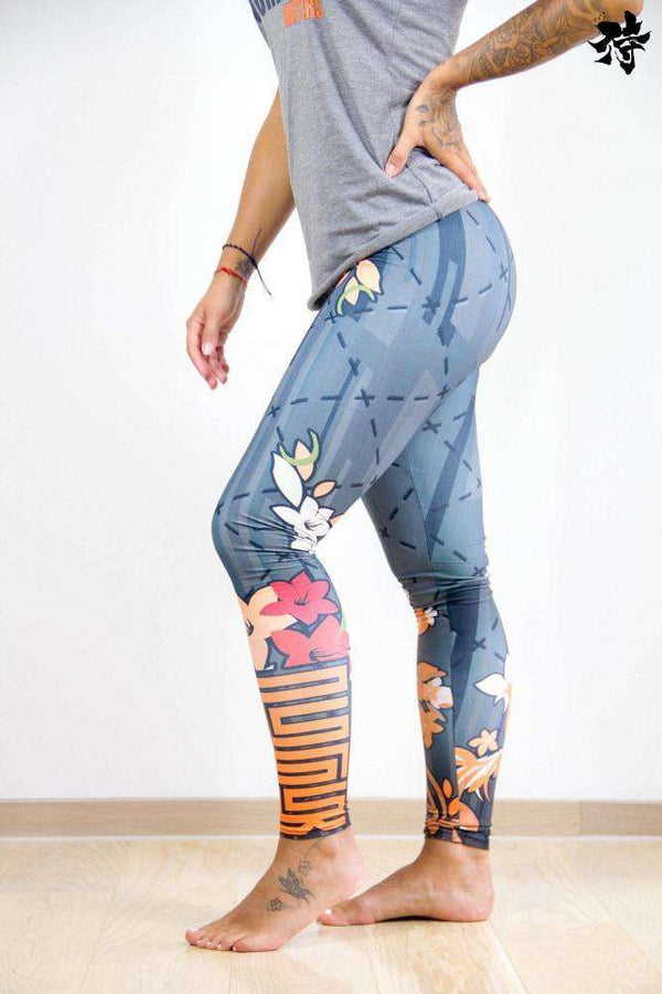 Printed Yoga Legging - Tibetan Flowers - Raise yourself