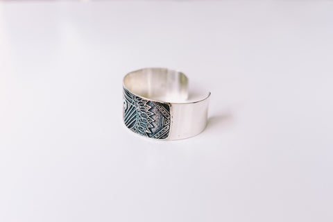 Silver engraved cuff bracelet